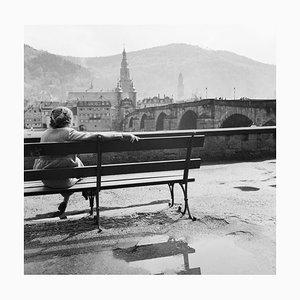 Woman Sitting at Neckar on Bench Heidelberg, Germany 1936, Printed 2021