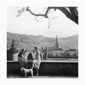 Women, Dog at Neckar Heiliggeist Church Heidelberg, Germany 1936, Printed 2021