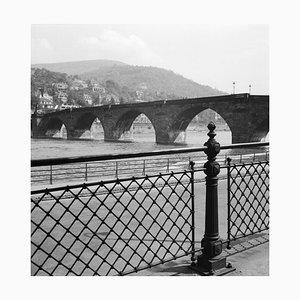 View to Old Bridge Over River Neckar at Heidelberg, Germany 1936, Printed 2021