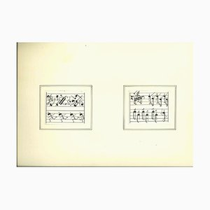 Unknown, Army of Musical Notes, China Ink, Mid 20th Century