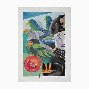 Gianpistone, The General and the Birds, Original Screen Print, 1970s