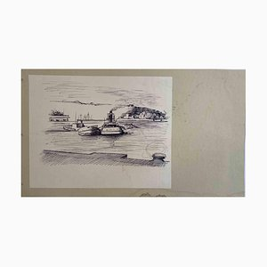 The Port, Original Pen and Pencil Drawing, Mid-20th Century
