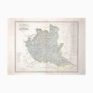 Map of Lombardy, Original Etching, 19th Century