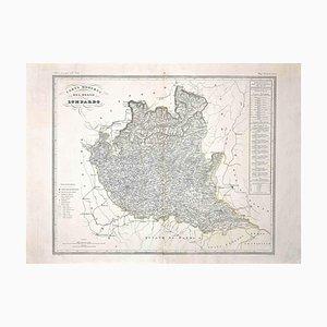 Mapa de Lombardía, Grabado original, siglo XIX