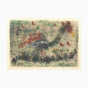 Abstract Composition, Original Pastel and Tempera, Mid-20th Century