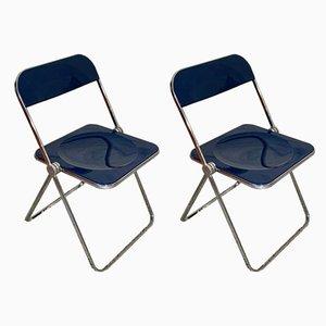 Navy Pila Folding Chairs by Giancarlo Piretti for Castelli, 1960s, Set of 2