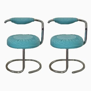 Vintage Aquamarine Cobra Dining Chairs by Giotto Stoppino, Set of 2
