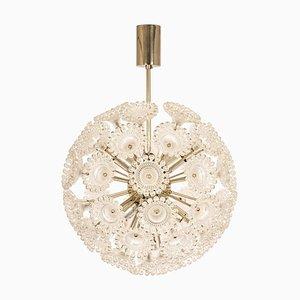 Floraler Sputnik Kronleuchter aus Chrom von Sölken Leuchten, 1960er