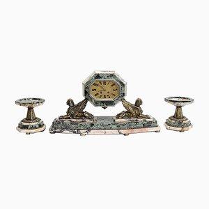 Art Deco Marble and Bronze Mantel Clock & Decoration, 1940s, Set of 3