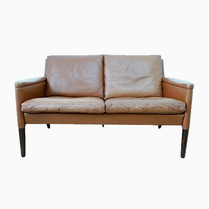 Danish Brown Leather & Rosewood 2-Seater Sofa by Kurt Østervig for Centrum Mobler, 1950s