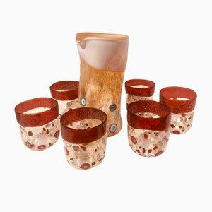 Vintage Italian Murano Glass Tableware Set by Maryana Iskra, Set of 7