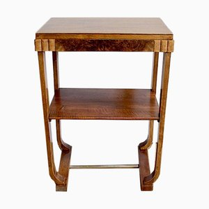 Small Art Deco Table in Walnut and Stained Beech, 1940s