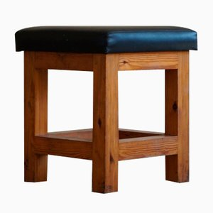 Mid-Century Danish Brutalist Solid Pine Stool with Leather Upholstery, 1960s