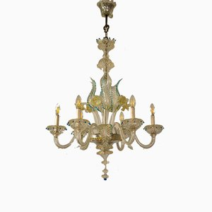 Chandelier in Blown Murano Glass with 6 Lights, Italy, 1930s or 1940s