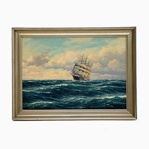 Antique Nautical Oil Painting