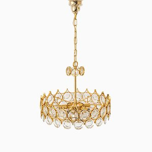 Brass and Crystal Chandelier by Gaetano Sciolari for Palwa, Germany, 1970s