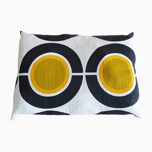 Mod Cushion with Linen Cover and Space Age Pattern, 1970s