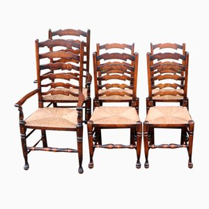Ash Ladder Back Dining Chairs, 1960s, Set of 6