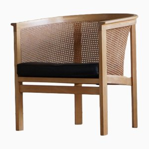 Mid-Century King Series Armchair in Cane and Leather by Thygesen & Sørensen for Botium, 1980s