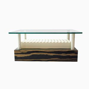 Lacquered Metal and Laminated Wood Coffee Table by Ettore Sottsass, 1980s