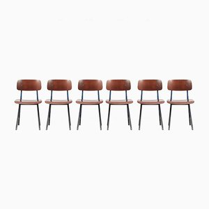 Result Chairs with Blue Frame by Friso Kramer for Ahrend De Cirkel, 1958, Set of 6