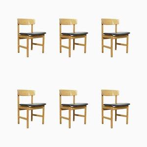 Vintage Oak 3236 Chairs by Børge Mogensen, Denmark, 1950s, Set of 6