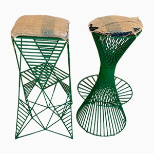 Italienische Smaragdgrüne Hocker aus Metall, 2er Set