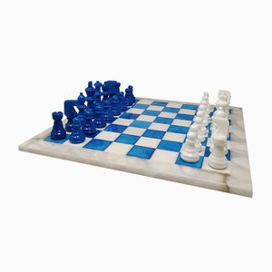 Blue and White Chess Set in Volterra Alabaster, Italy, 1970s, Set of 33