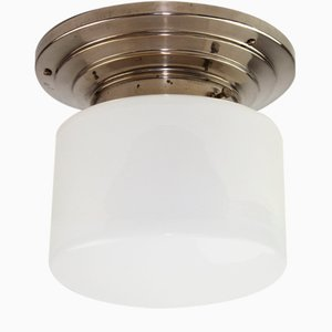 Bauhaus Nickel Plated Ceiling Lamp with Opal Glass Shade, 1930s