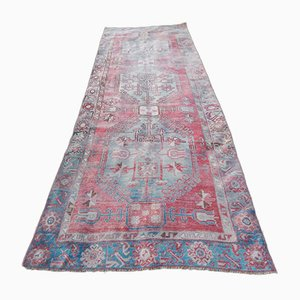 Hand-Knotted Kurdish Low Pile Runner Rug