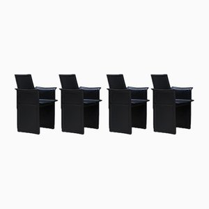 Black Leather Dining Chairs by Tito Agnoli for Matteo Grassi, Set of 4
