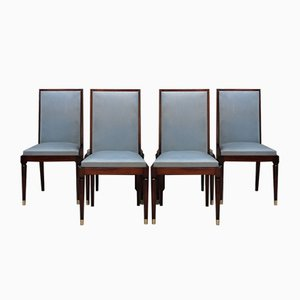 Art Deco Mahogany De Luxe Chairs by Gaston Poisson, 1940s or 1950s, Set of 6
