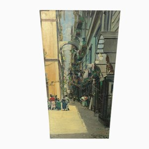 Vintage signierte Öl auf Leinwand Gemälde von Mario Ferdelba, Italien, 1950er