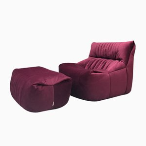 French Burgundy Aralia Sofa Module with Footstool from Ligne Roset, Set of 2