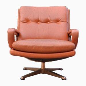 Vintage Cognac Swivel Lounge Chair by Carl Straub, 1960s