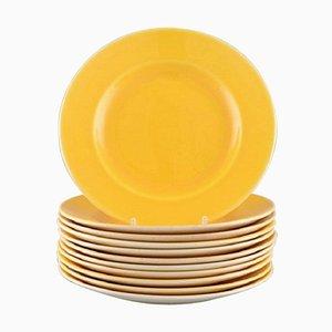Royal Copenhagen / Aluminia Confetti Plates in Yellow Glazed Faience, Set of 11
