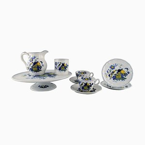 Blue Bird Service in Hand-Painted Porcelain, 1930s, Set of 9
