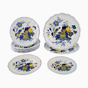Blue Bird Plates in Hand-Painted Porcelain, 1930s, Set of 10
