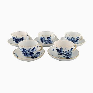 Antique Meissen Coffee Cups with Saucers in Porcelain, Early 20th Century, Set of 10