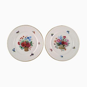 Antique Porcelain Plates with Hand-Painted Flower Baskets, Set of 2