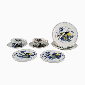 Blue Bird Service in Hand-Painted Porcelain, Set of 8