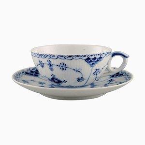 Royal Copenhagen Model Number 1/525 Blue Fluted Half Lace Teacup with Saucer, Set of 2