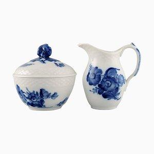 Royal Copenhagen Blue Flower Braided Sugar Bowl and Cream Jug, 1960s, Set of 2