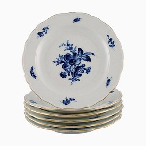 Antique Meissen Porcelain Lunch Plates with Hand-Painted Flowers, Set of 6