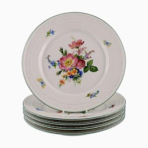 Antique Porcelain Plates with Hand-Painted Flowers, Set of 5