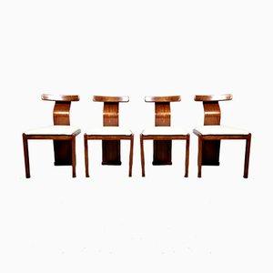 Italienische Vintage Esszimmerstühle aus Nussholz & Boucle, 1960er, 4er Set