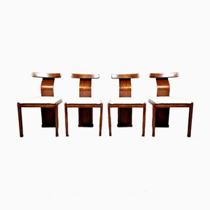Vintage Italian Walnut and Boucle Dining Chairs, 1960s, Set of 4
