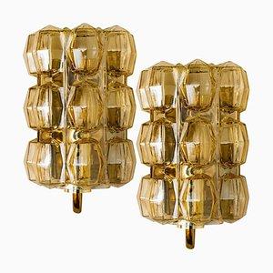 Bernsteinfarbene Glas Wandlampen von Helena Tynell für Glashütte, 1960er, 2er Set