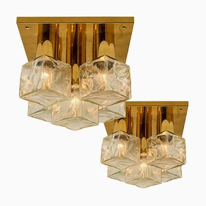 Flush Mount Light or Sconce in Brass Ice Glass from Kalmar, 1970s