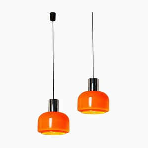 Orange Blown Pendant Lights from Peill & Putzler, 1970s, Set of 2